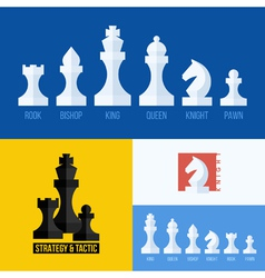 Flat set of chess pieces icons vector
