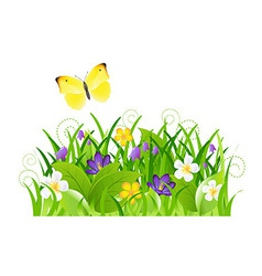 Flowers With Grass And Butterfly vector
