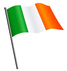 Flying irish flag ireland on flagpole vector