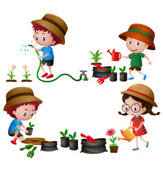 four kids watering and planting trees vector image
