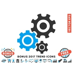 Gear Mechanism Flat Icon With 2017 Bonus Trend vector
