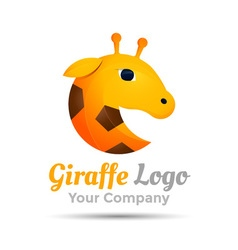 Giraffe head Colorful 3d Volume Logo Design vector image