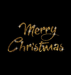 golden glitter isolated hand writing word merry vector image