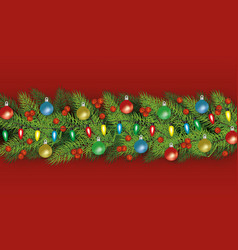 green christmas tree branch border with festive vector image