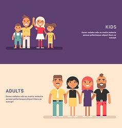 Groups adults and kids friendship and gathering vector