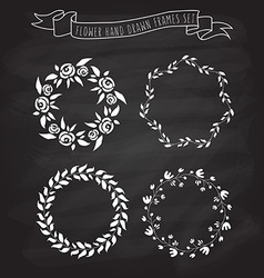 hand drawn flower and floral wreaths in f vector image