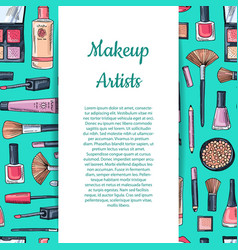 hand drawn makeup products background with vector image