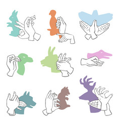 hands gesture like different animals imagination vector image