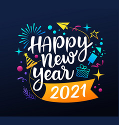 Happy new year 2021 message with icons colorful vector