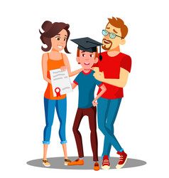 happy parents standing behind the student with vector image