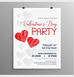 happy valentines day party celebration flyer vector image