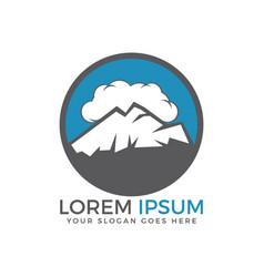 high mountain peaks in a cloud sky logo design vector image