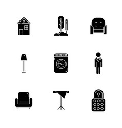 Home comfort black glyph icons set on white space vector