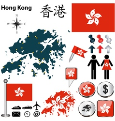 Hong Kong map vector