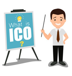 Ico business presentation concept flat vector