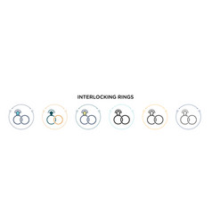 Interlocking rings icon in filled thin line vector