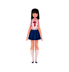 Japanese teenage schoolgirl in typical uniform vector