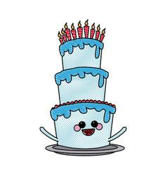 Kawaii cake candle birthday party celebration vector