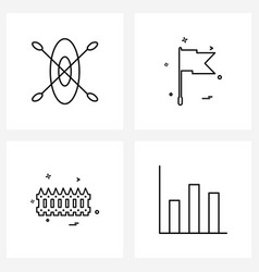 Line icon set 4 modern symbols boat flag vector