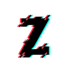 Logo letter z glitch distortion diagonal vector