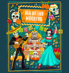 mexican day dead sugar skulls skeletons vector image