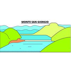 Monte san giorgio line travel landmark skylin vector