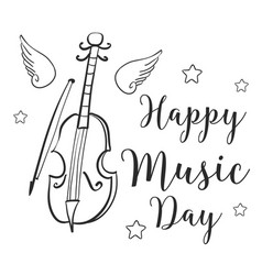 Music day celebration style greeting card vector