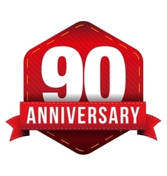 Ninety year anniversary badge with red ribbon vector