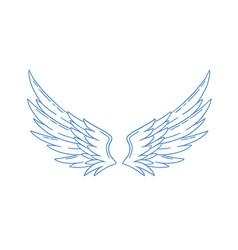 Pair monochrome wide open angel wings vector