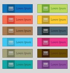 piano key icon sign Set of twelve rectangular vector image