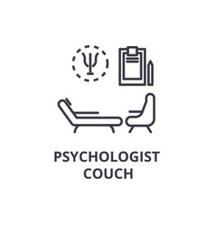 psychologist couch concept thin line icon sign vector image