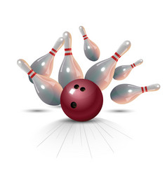 Realistic bowling strike concept on white vector