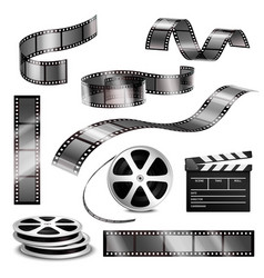 Realistic clapper photographic strips and film vector