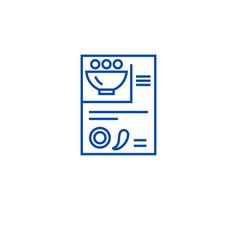 recipe card line icon concept recipe card flat vector image