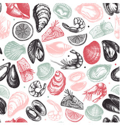 Seafood seamless pattern hand drawn fish vector