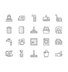 Set cleaning line icons housewife iron towel vector