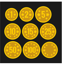 set of coins with numbers for table casino games vector image