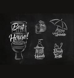set toilet graphic symbols chalk vector image