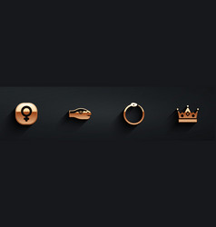Set venus snake ouroboros and king crown icon vector