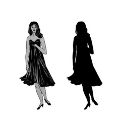 Silhouette a girl with formal dress vector