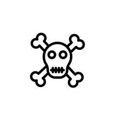 single lineart skull with cross bones vector image
