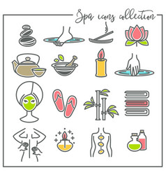 spa icons beauty and recreation skincare and vector image