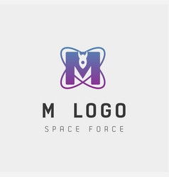 Space force logo design m initial galaxy rocket vector