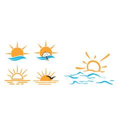 summer ocean icon design set bundle template vector image
