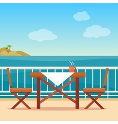 Table and chairs on the balcony vector