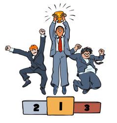 Three businessmen jumping on winning podium with vector