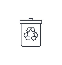 trash recycling thin line icon linear vector image