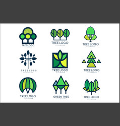 tree logo original design set of vector image