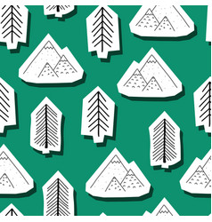 Trees and mountains seamless pattern vector