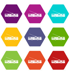 Trolleybus icon set color hexahedron vector